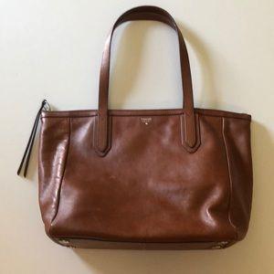 EUC Cognac Leather Fossil Bag
